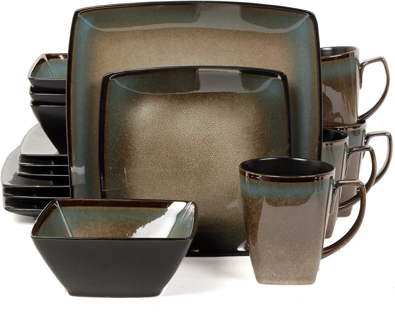 Gibson elite tequesta square dinnerware set, taupe