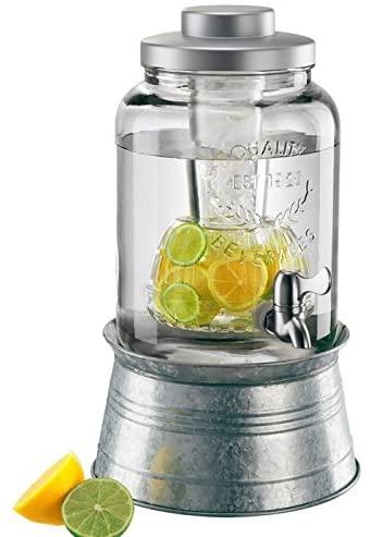 Artland masonware beverage jar 2 gal w/chiller & infuser, galvanized stand