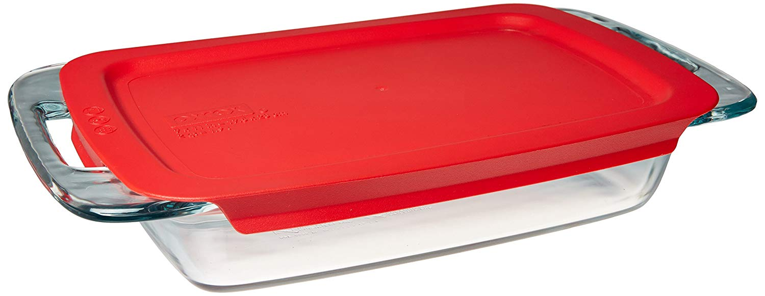 Pyrex easy grab 2-quart oblong baking dish with lid