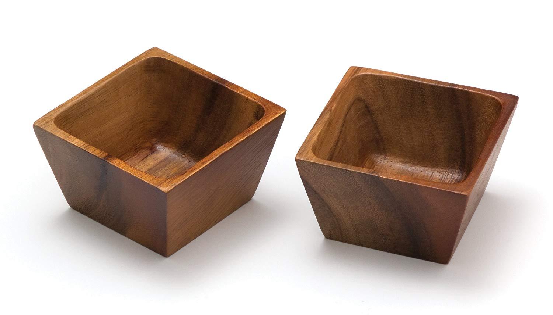 Lipper international 1100-2 acacia square pinch bowls