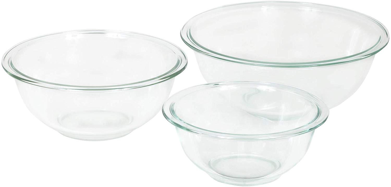 Pyrex prepware glass mixing bowl set