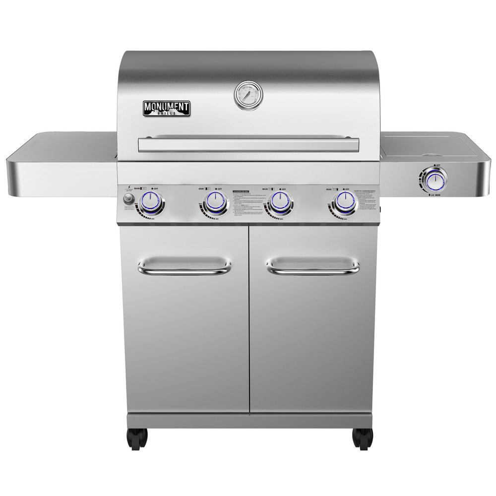 Monument 4-burner propane gas grill in stainless