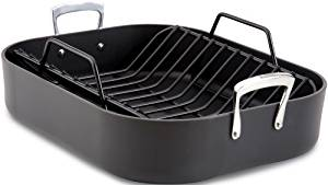All-clad e87599 hard anodized roaster with nonstick rack/cookware