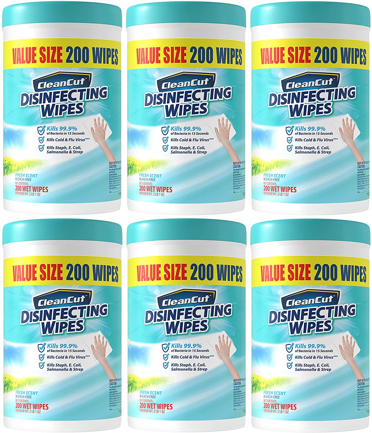Disinfecting wipes by clean cut, fresh scent, value size 200 wet wipes