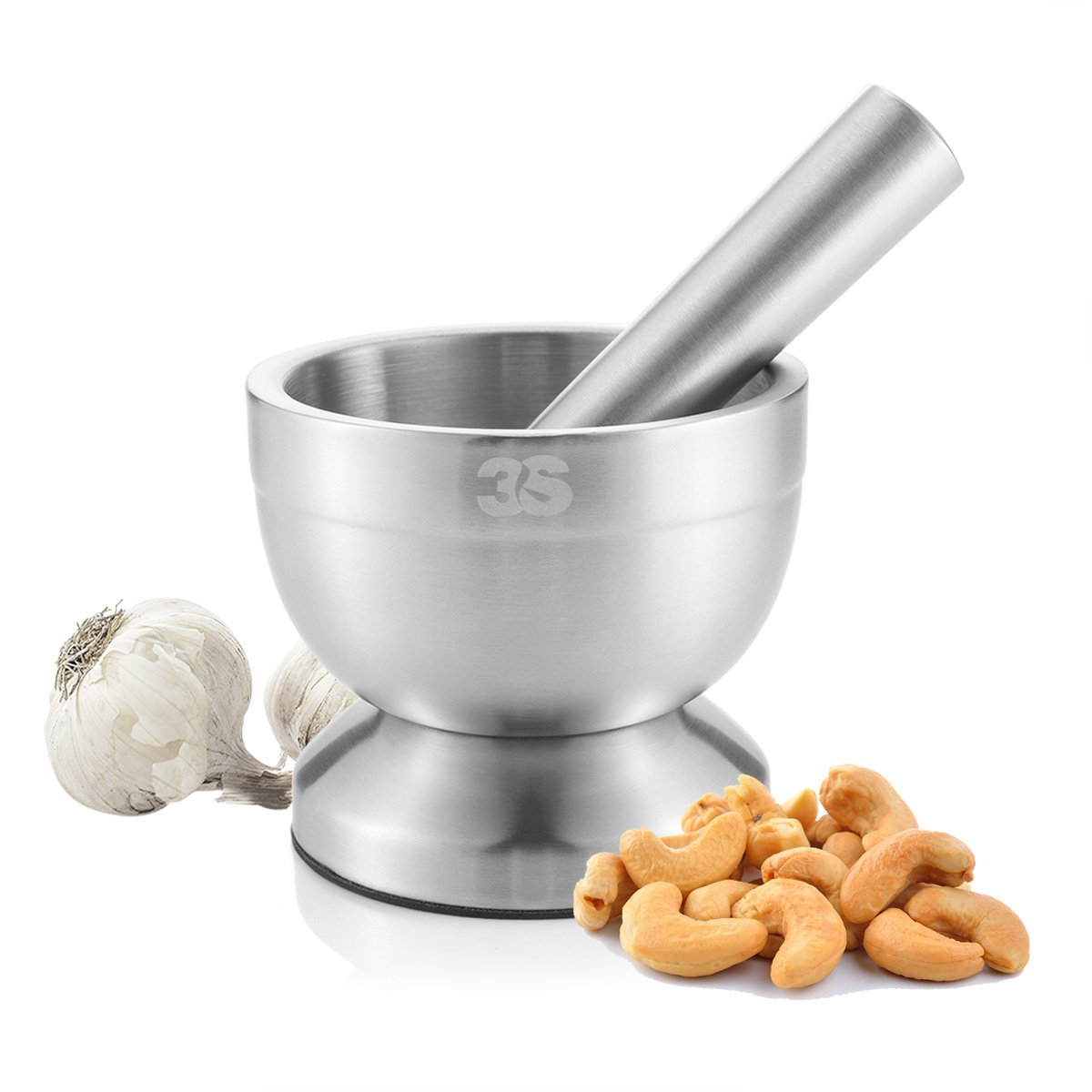3s stainless steel spice grinder/mortar and pestle set