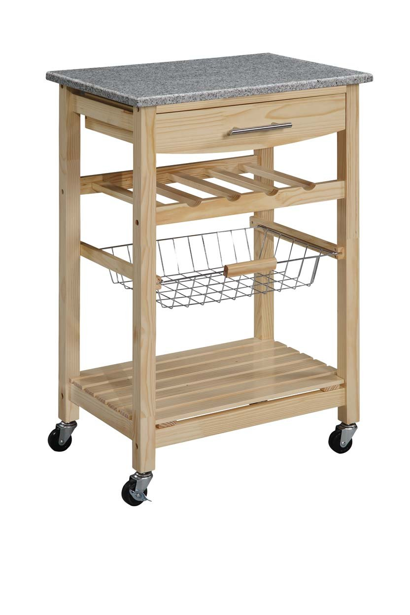 Linon kitchen island granite top cart