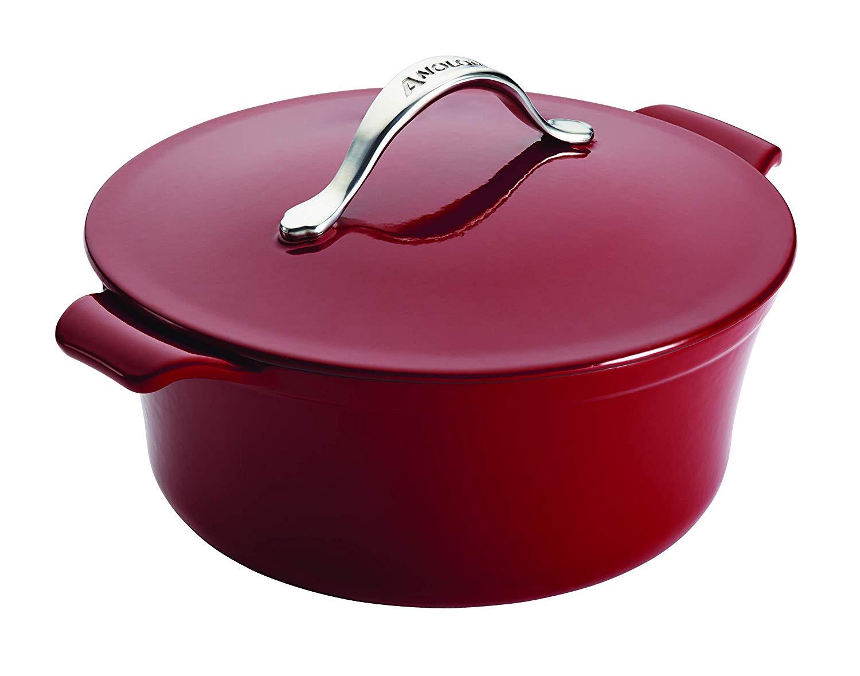 Anolon vesta 5-quart round covered cast iron casserole