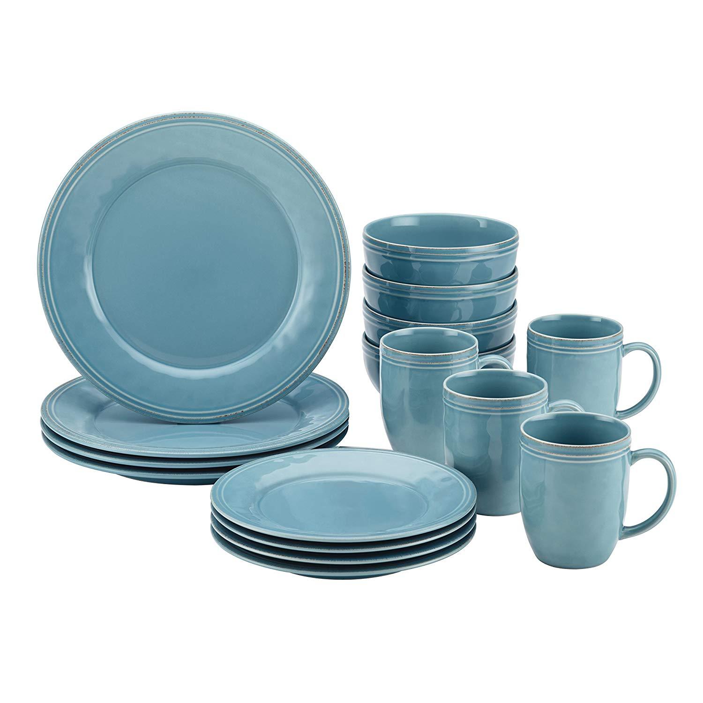 Rachael ray 55093 cucina stoneware dinnerware set, agave blue