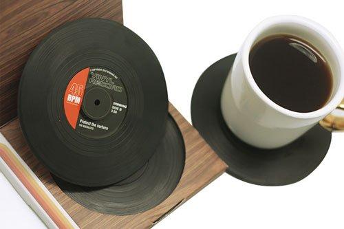 Janazala vintage vinyl record beverage table coasters for drinks