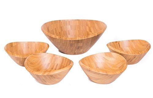 Birdrock home bamboo salad bowl set
