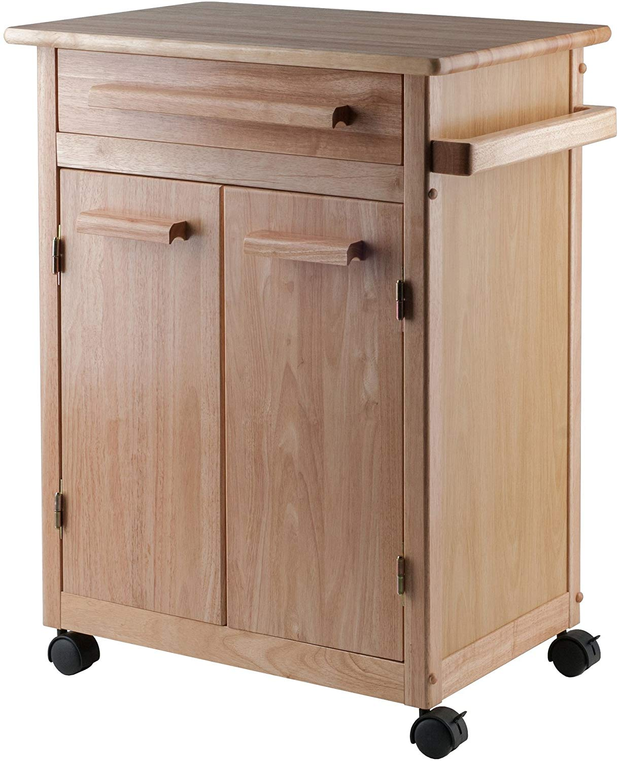 Winsome wood single drawer kitchen cabinet storage cart, natural