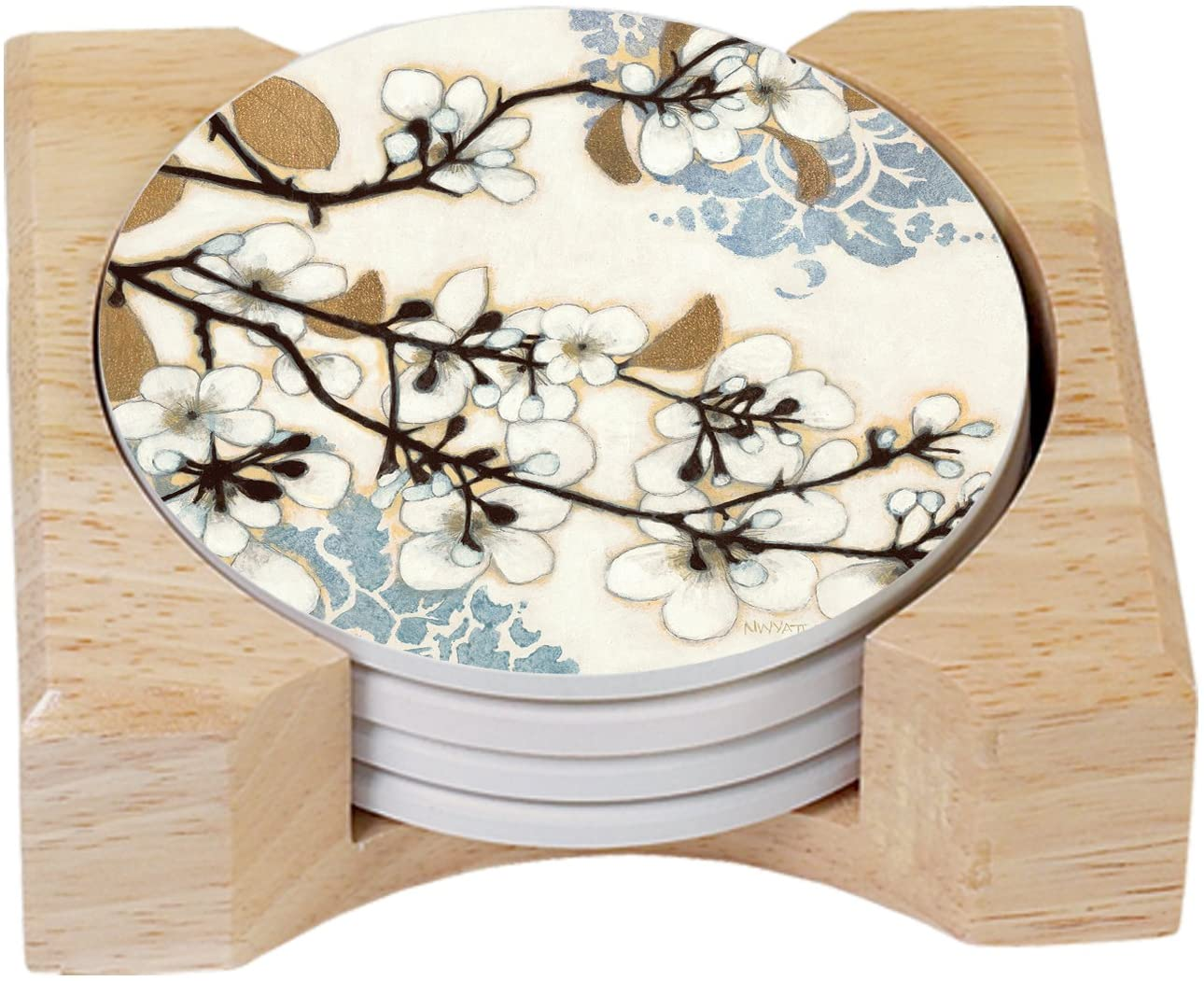 Counterart dogwood branch design absorbent coasters in wooden holder