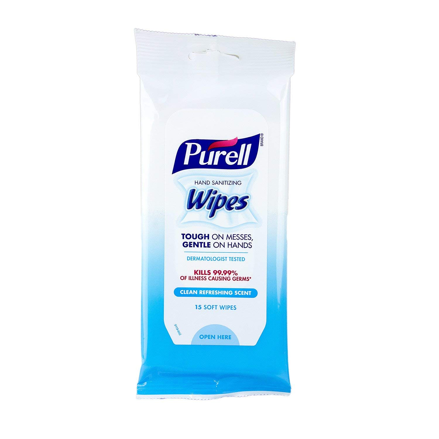 Purell hand sanitizing wipes, clean refreshing scent