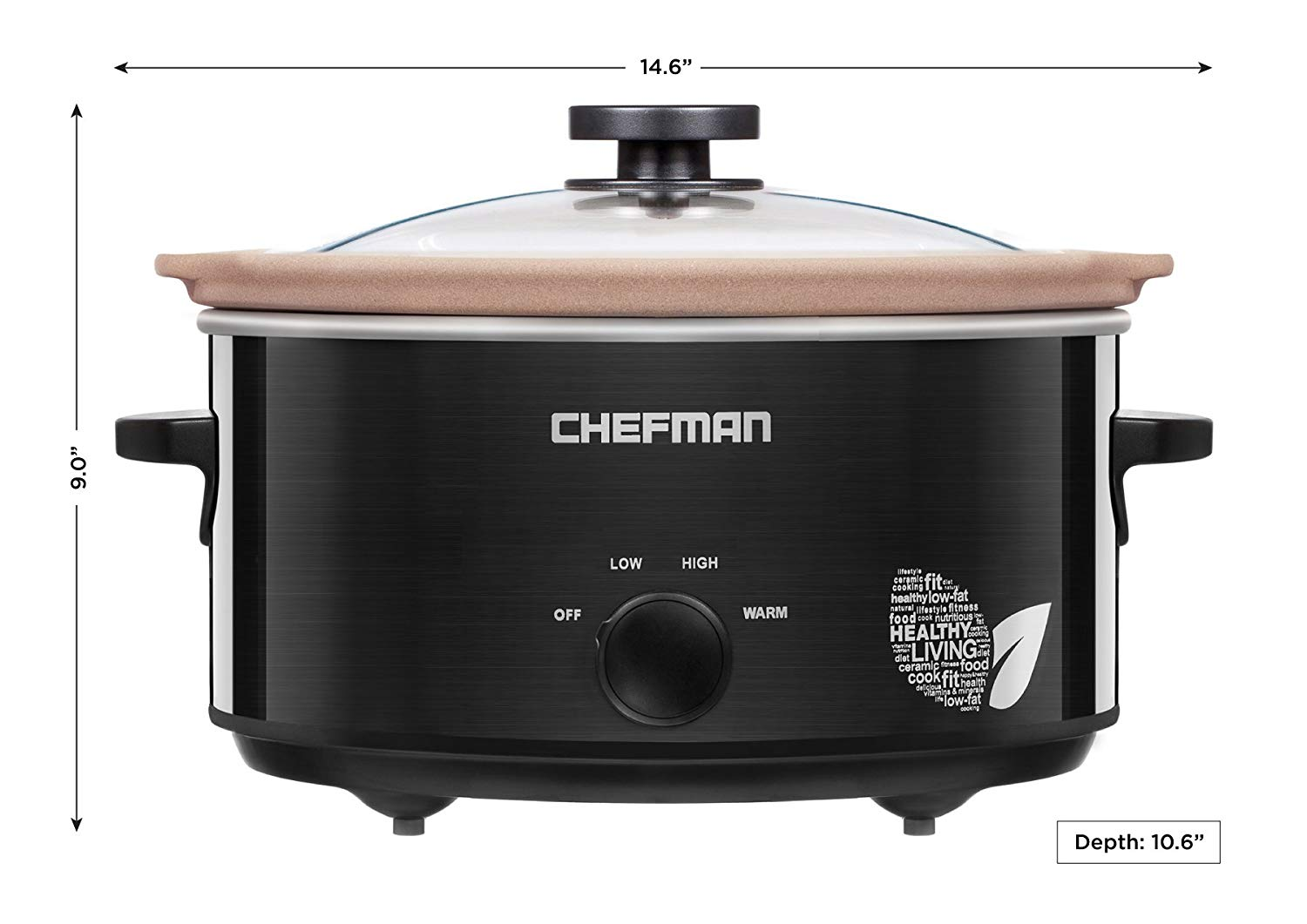 Chefman® 5-quart slow cooker with natural stoneware insert