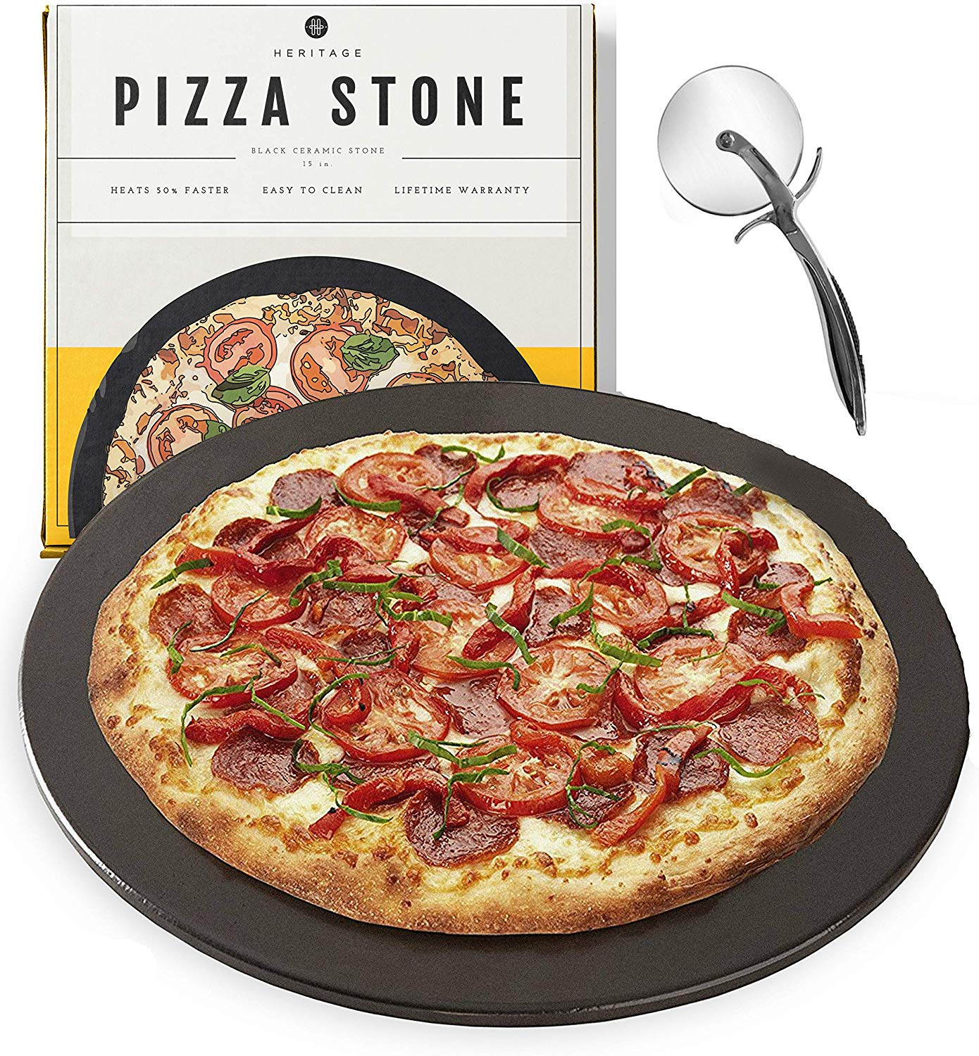 Heritage black ceramic pizza stone and cutting wheel