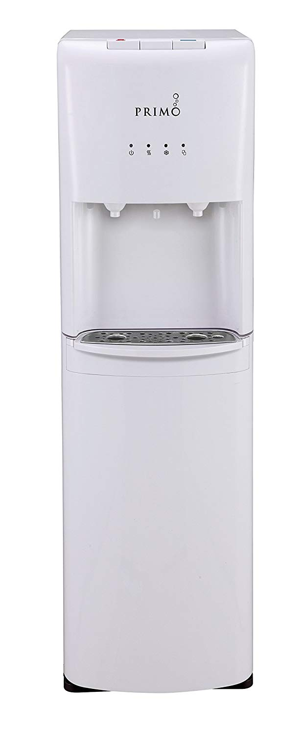 Primo white 2 spout bottom load hot and cold water cooler dispenser
