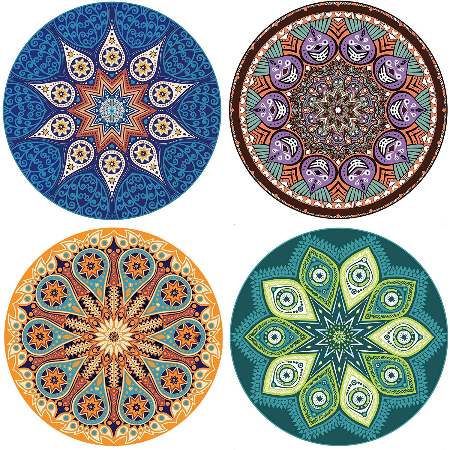 Enkore absorbent ceramic stone coaster for drinks - mandala, large 4.3
