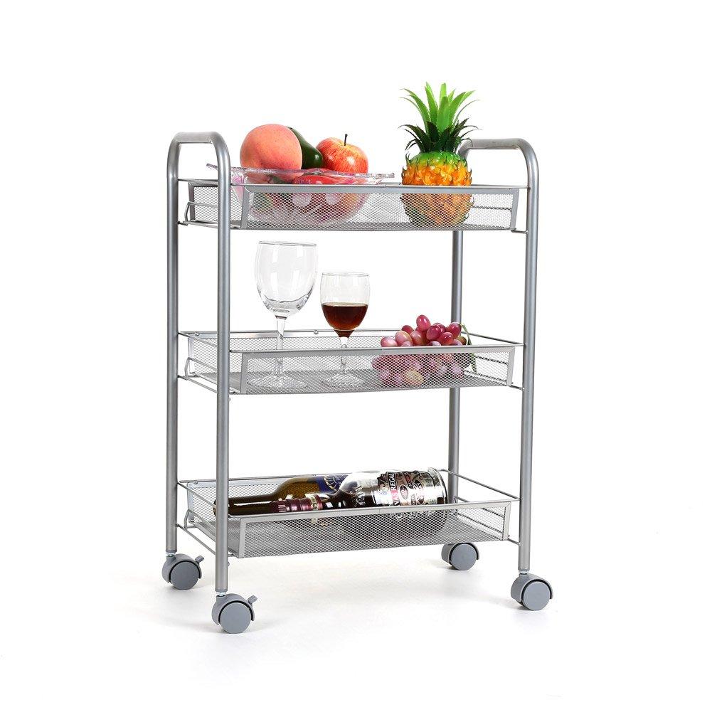Homfa 3-tier mesh wire rolling cart