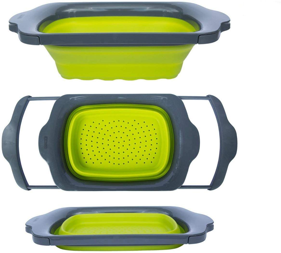 Colander collapsible over the sink colander with handles
