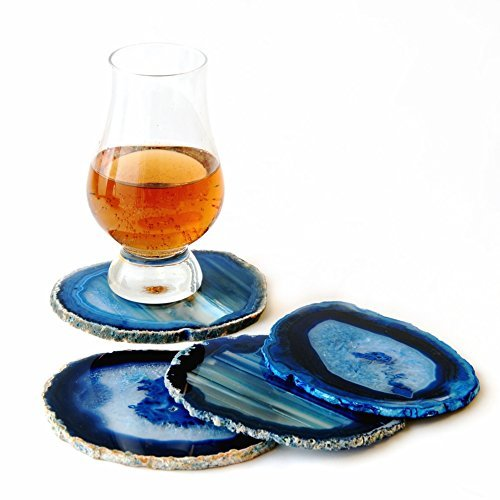 Natural sliced dyed agate coaster with rubber bumper