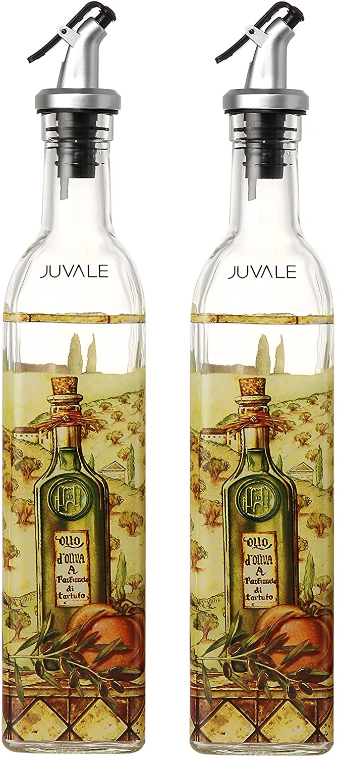 Oil and vinegar glass bottle dispensers, set of 2