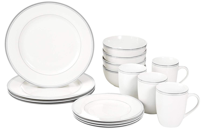 Amazon basics cafe stripe dinnerware set