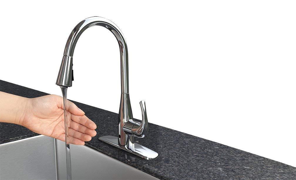Flow motion sensor kitchen sink faucet