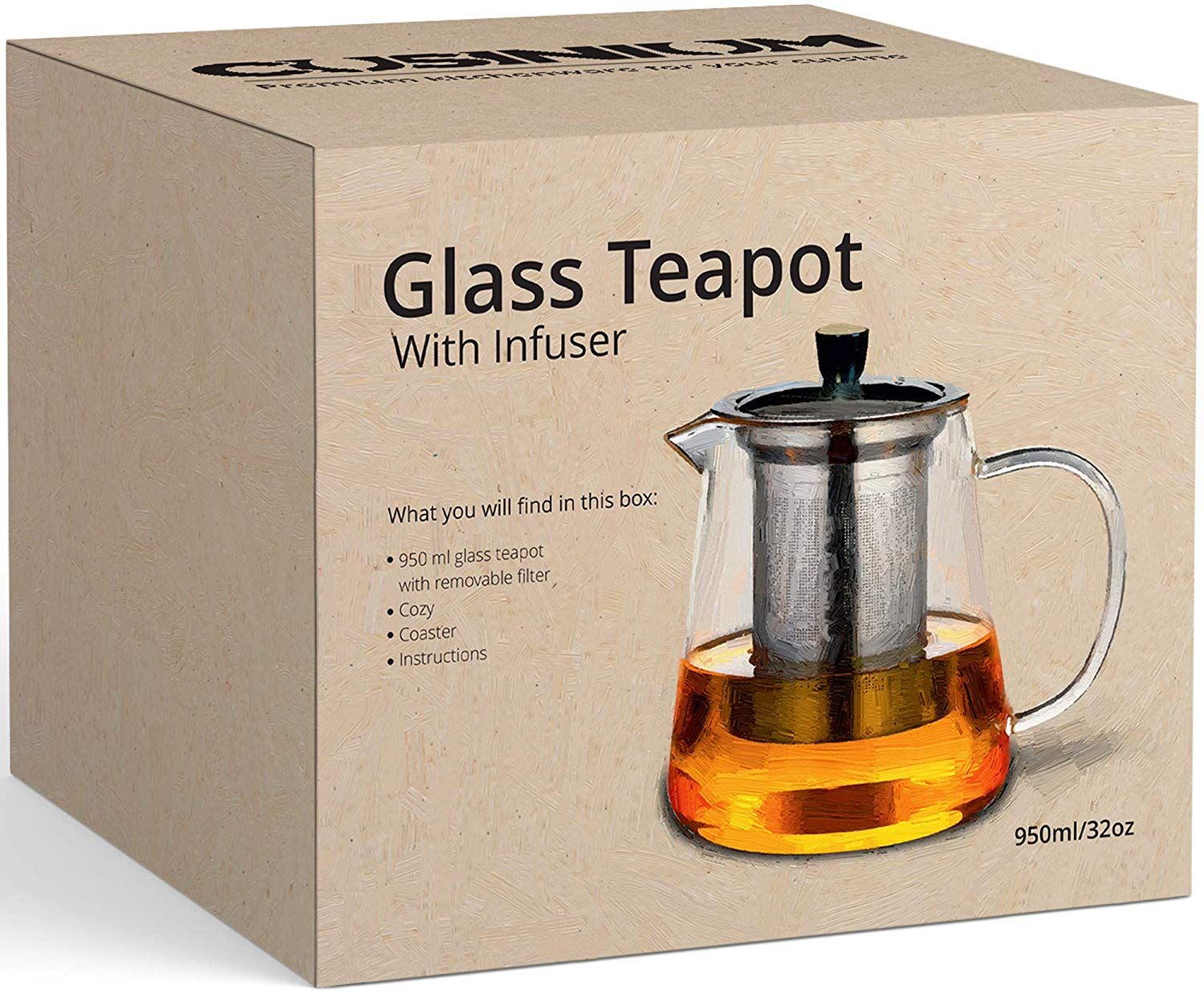 Cusinium glass teapot for hot and cold tea with infuser set