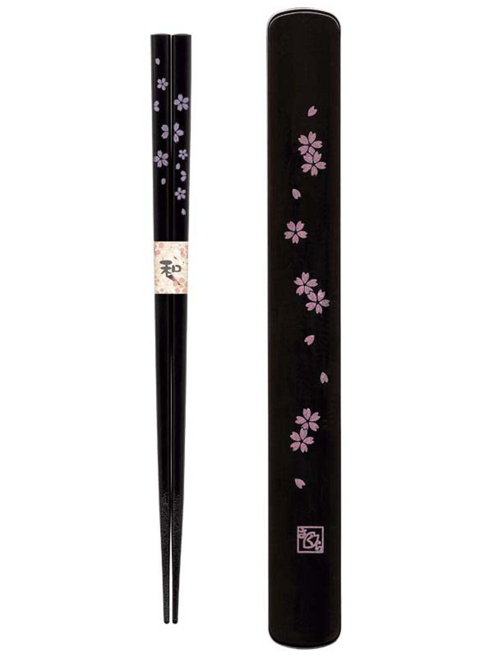 Travel chopstick with case (black pink sakura cherry blossom)