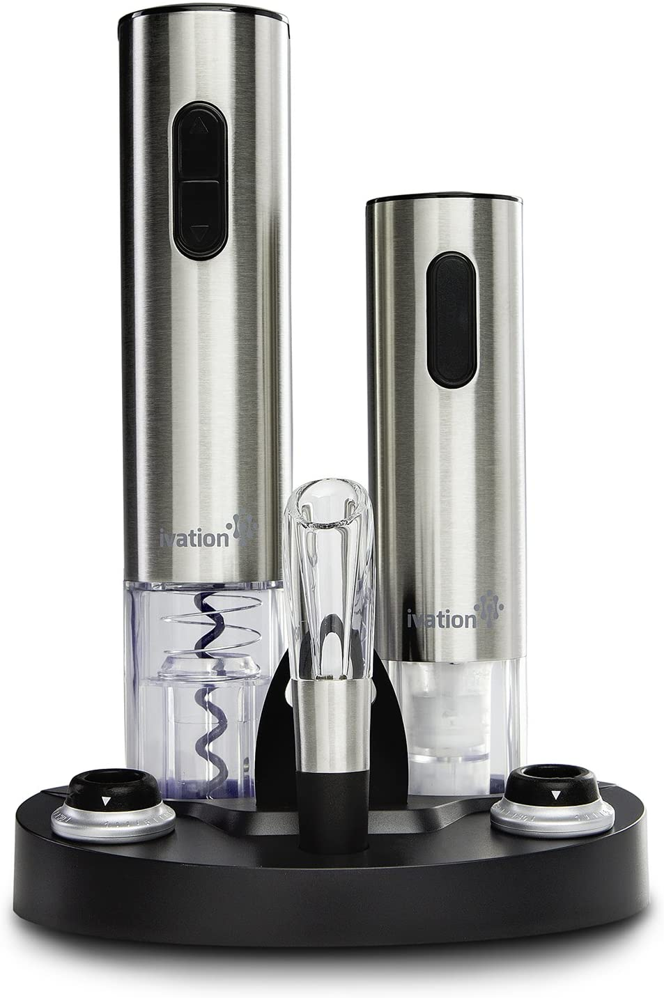 ?ivation wine gift set, includes stainless steel electric wine bottle opener