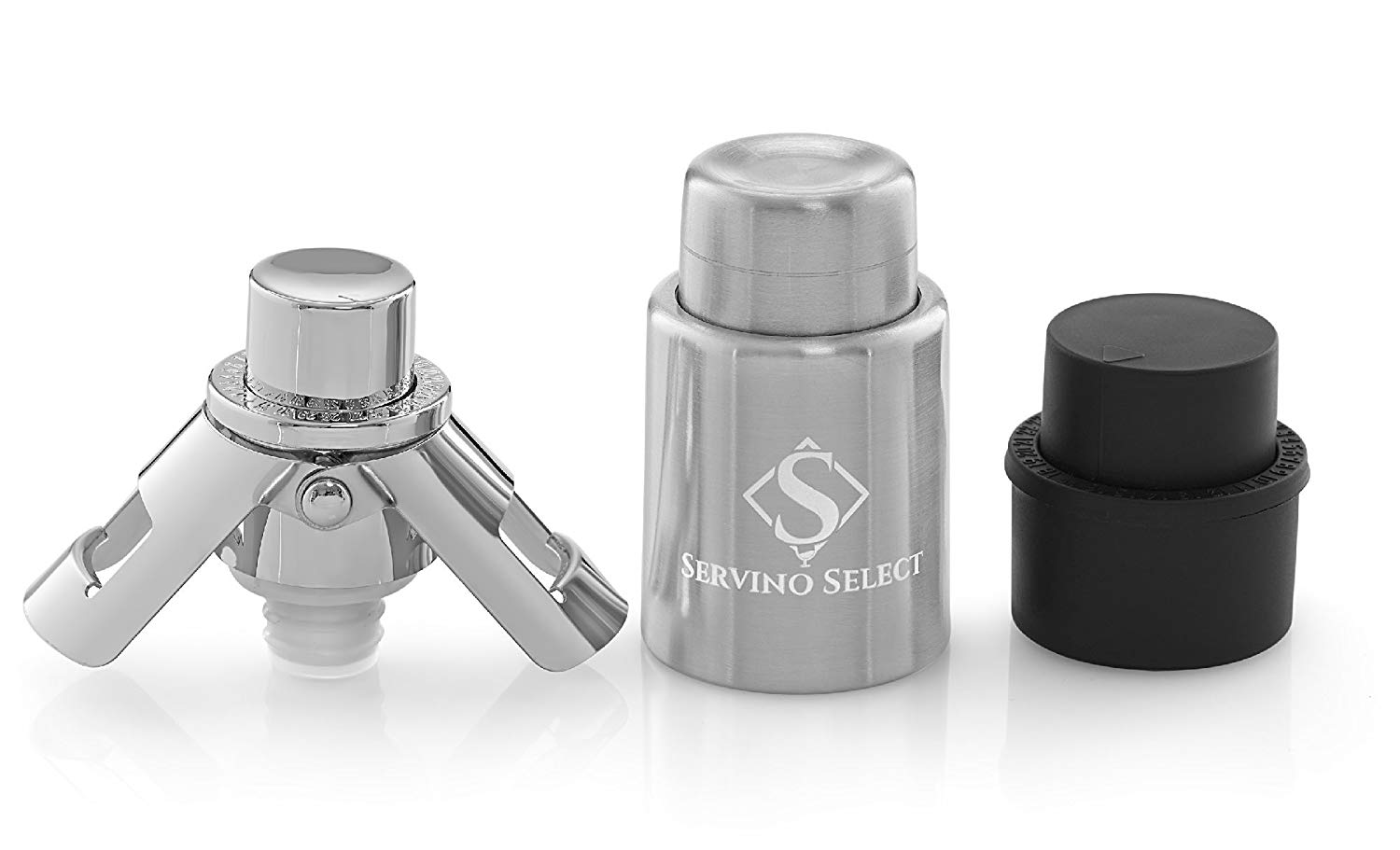 Servino select bottle stoppers with built-in pumps