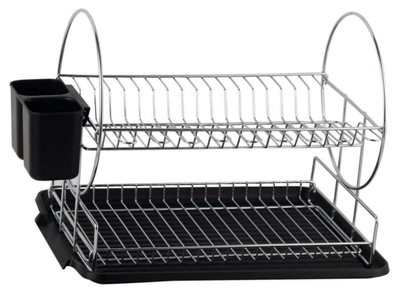 ???deluxe chrome-plated steel 2-tier dish rack with drainboard