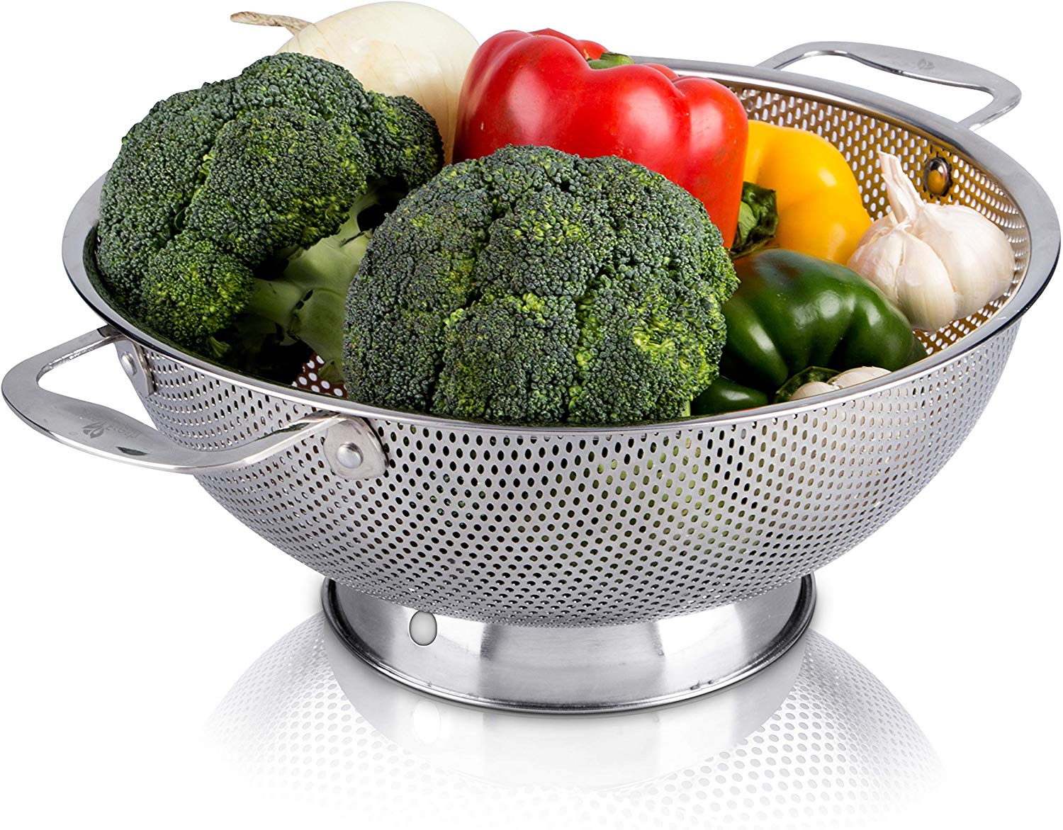 Live fresh stainless steel micro-perforated 5-quart colander