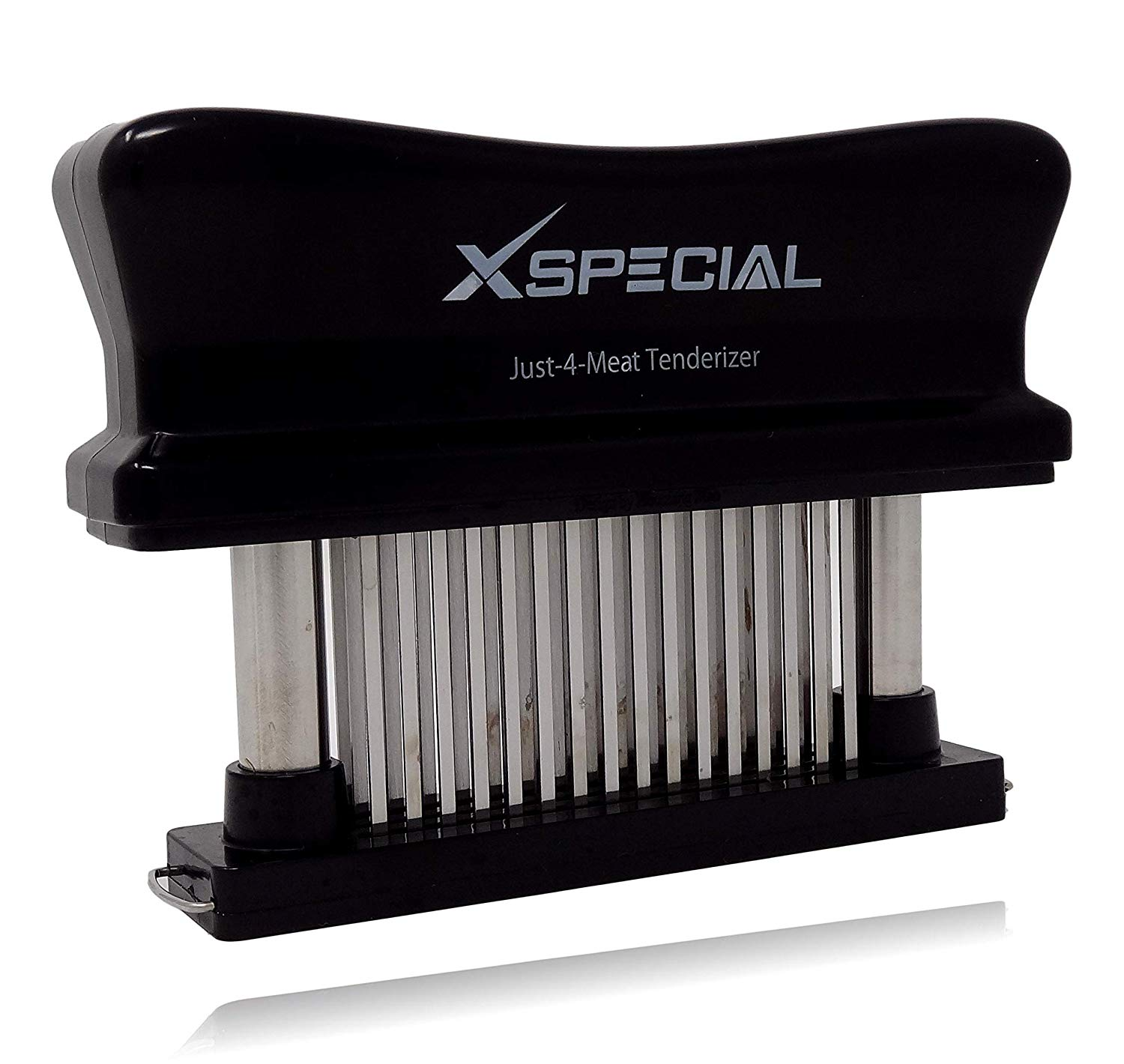 Black 48-blade meat tenderizer tool with stainless steel needle