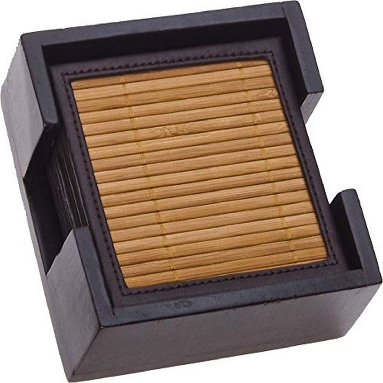 Thirstystone bamboo and faux leather ambiance coasters