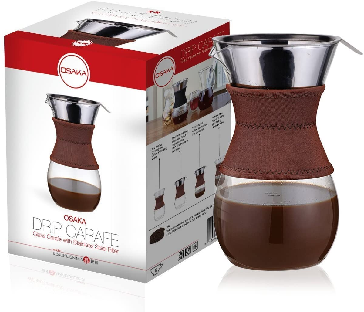 "Osaka pour-over drip brewer, 6 cup (27 oz) glass carafe with permanent stainless steel filter ""itsukushima"""