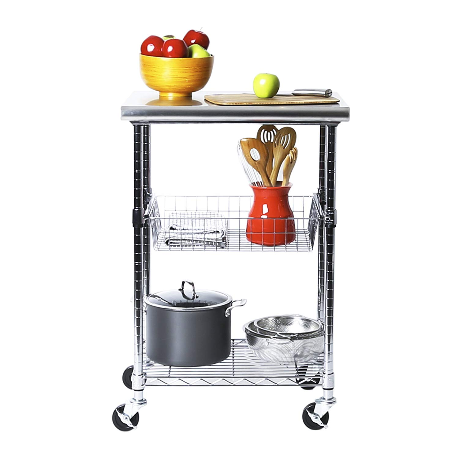 Seville classics stainless-steel nsf-certified professional kitchen work table cart