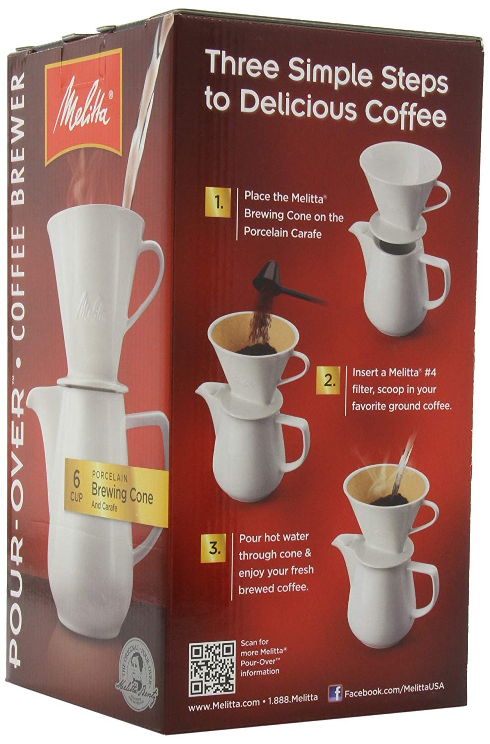 Melitta coffee maker, porcelain 6 cup pour over brewer