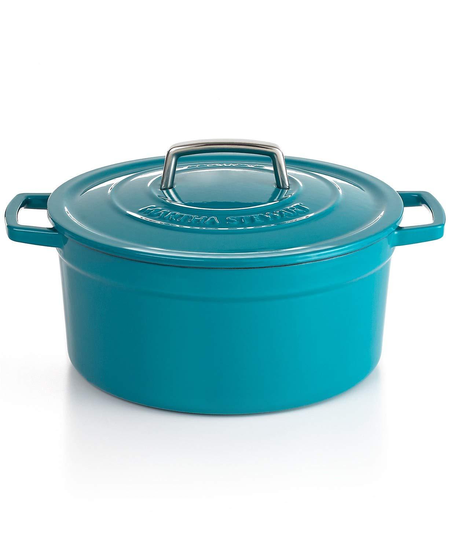 Martha stewart teal blue enameled cast iron 6 qt. dutch oven round casserole