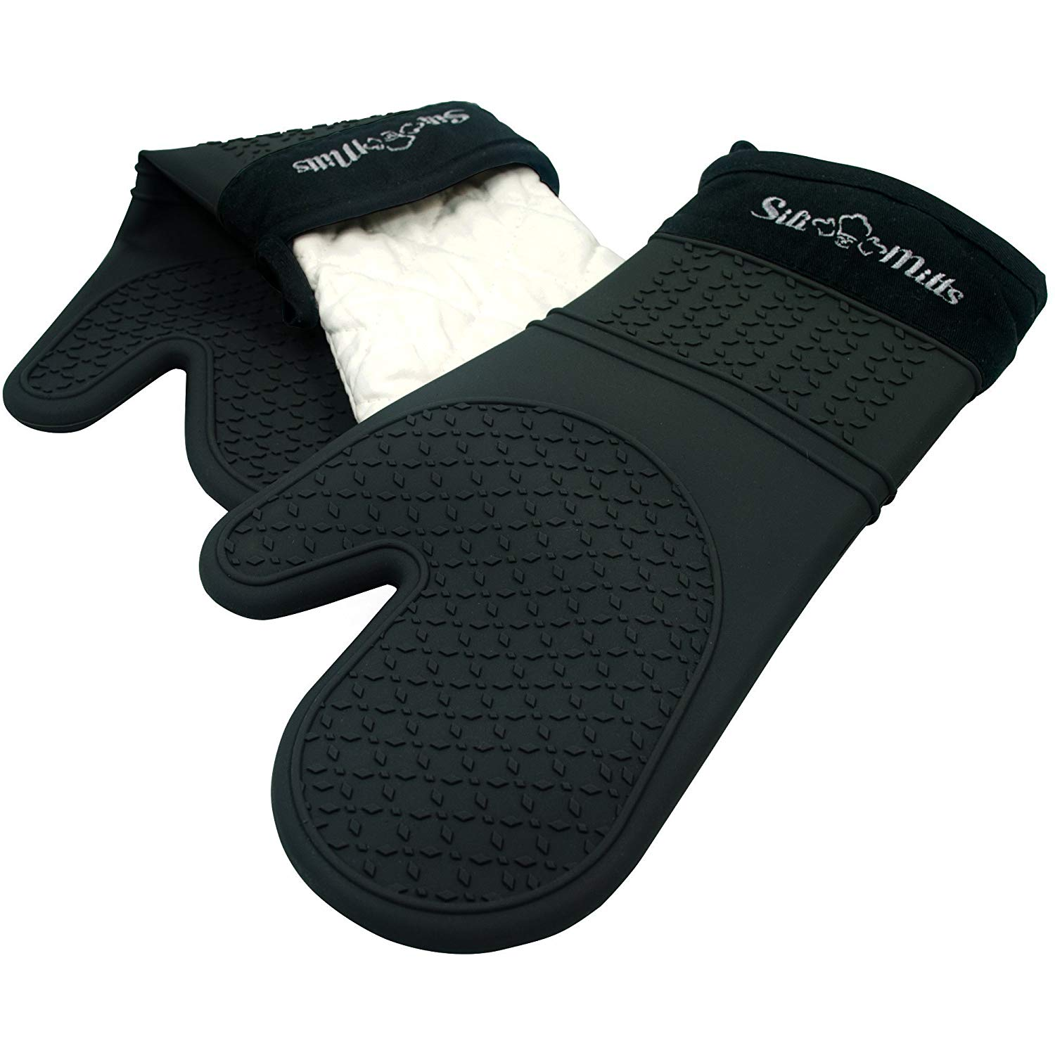 Sili-mitts black silicone oven mitts