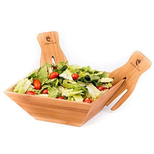 Midori way, wood salad bowl set with bamboo servers