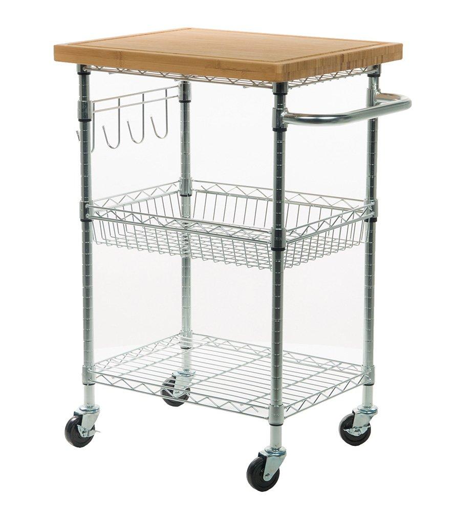 Trinity tbfz-1401 ecostorage bamboo kitchen cart