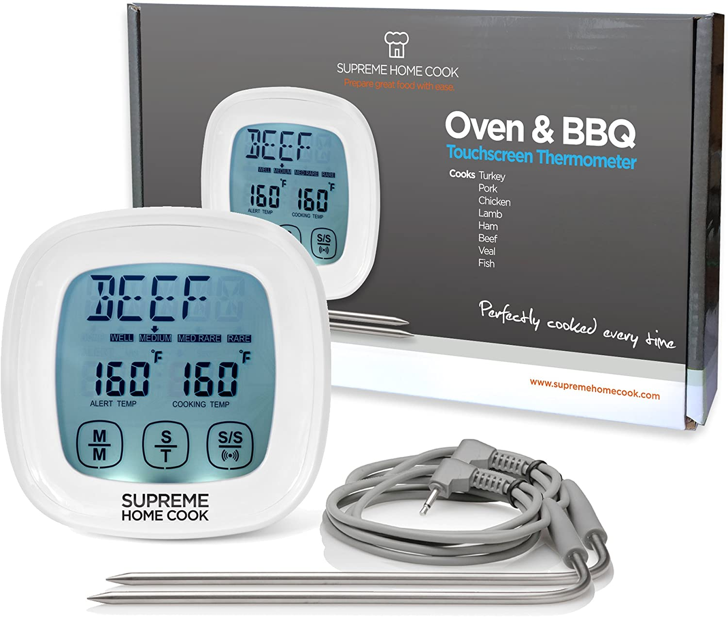Supreme home cook oven & bbq touchscreen digital meat cooking thermometer and timer