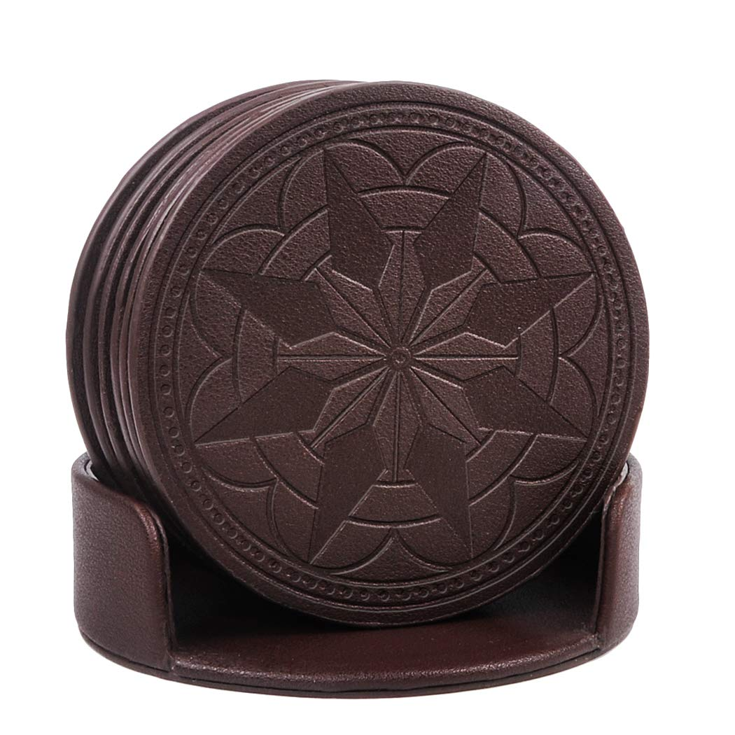 Coasters,pu leather coasters for drinks with holder-protect your furniture from