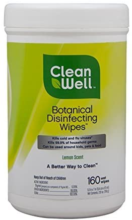 Cleanwell botanical disinfecting wipes, lemon, 160 count