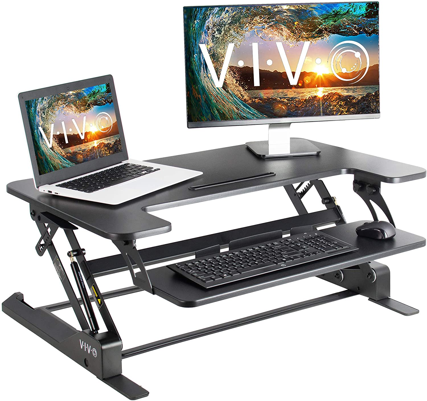 Vivo height adjustable standing desk sit to stand gas spring riser converter