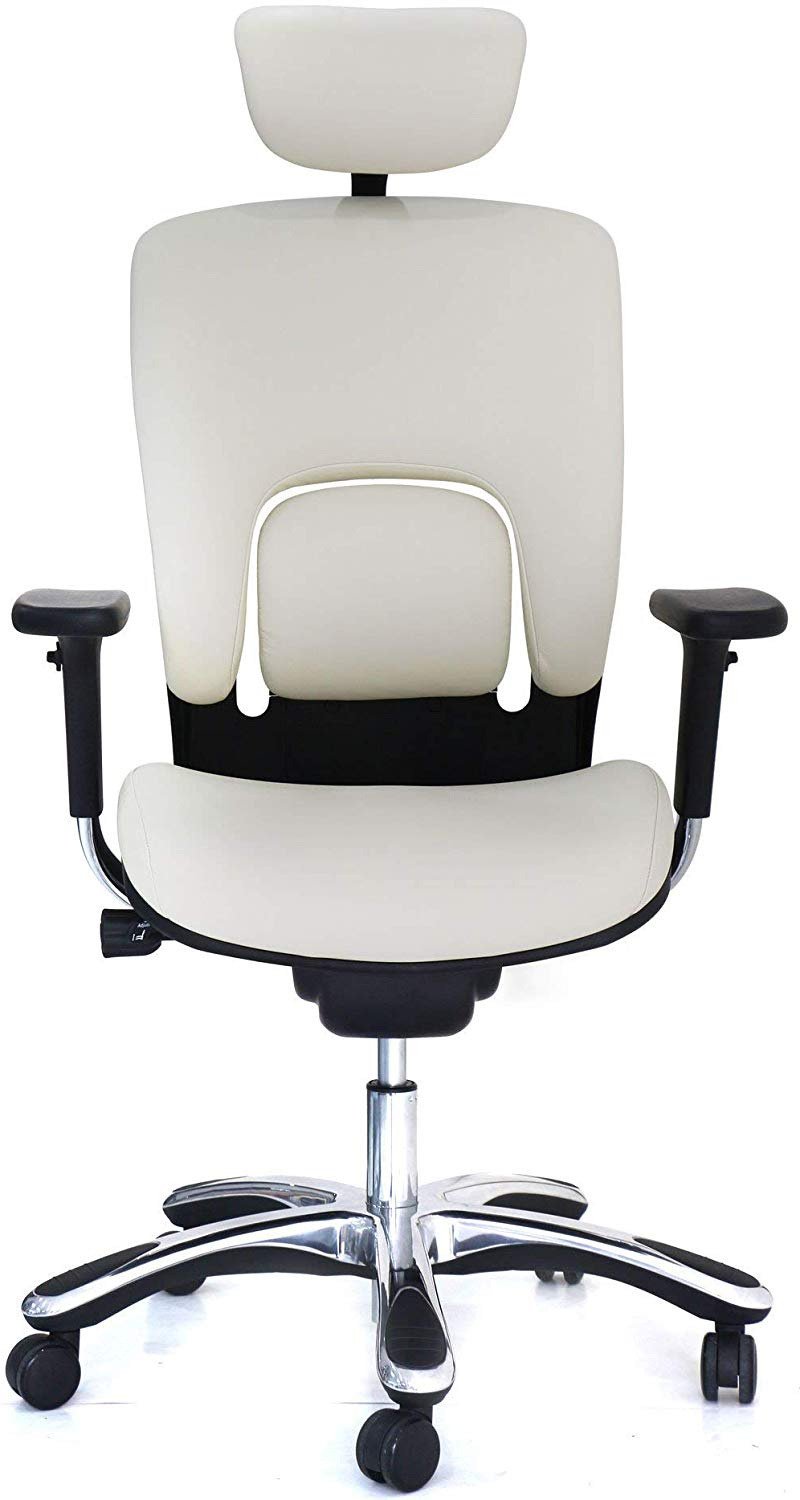 White ergonomic leather chair by gm seating