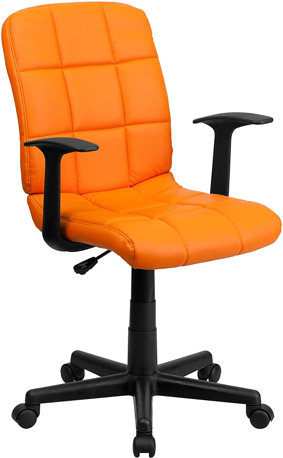 Flash furniture mid-back orange quilted vinyl swivel task chair with arms