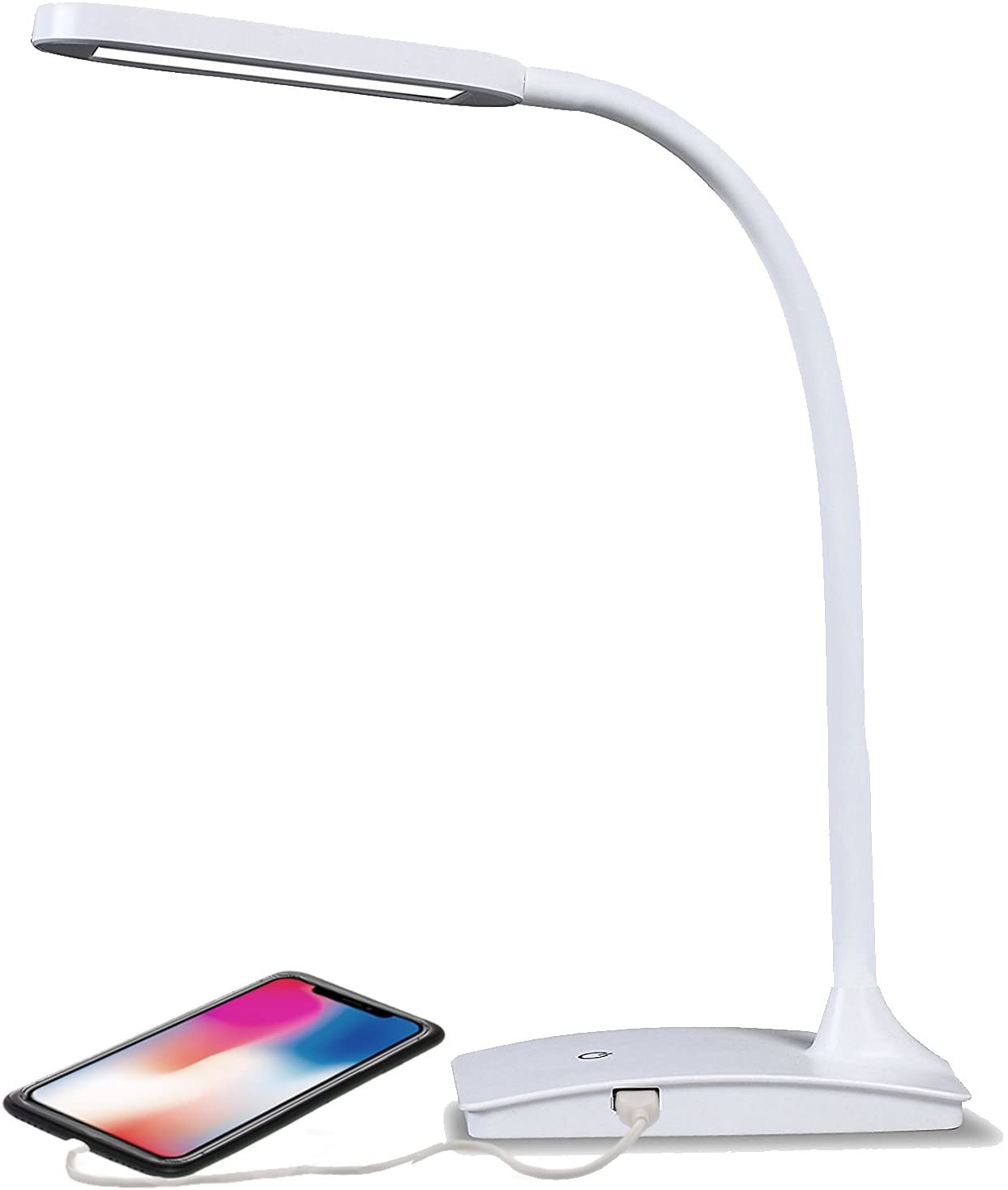 White led desk lamp, built-in usb port, 3 level touch dimmer, adjustable neck