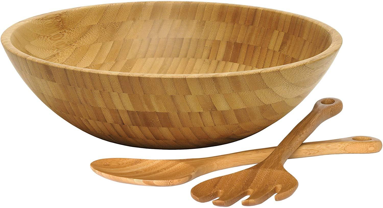 Lipper international 8204-3 bamboo wood salad bowl